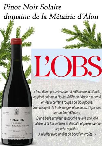 Pinot Noir Solaire domaine de la Métairie d'Alon