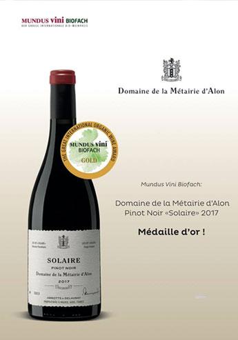 Une belle médaille obtenue au concours Mundus Vini Biofach 2019 pour le Domaine de la Métairie d'Alon