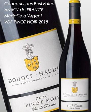 Concours des vins Best Value ANIVIN de FRANCE 2019: Médaille d'Argent VDF PINOT NOIR  rouge 2018